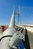 Foundation pylon and suspender cable of suspension bridge — Stock Photo