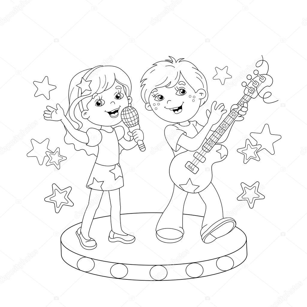Coloring Page Outline Of Boy And Girl Singing A Song Outline Of A Boy And Coloring Pages