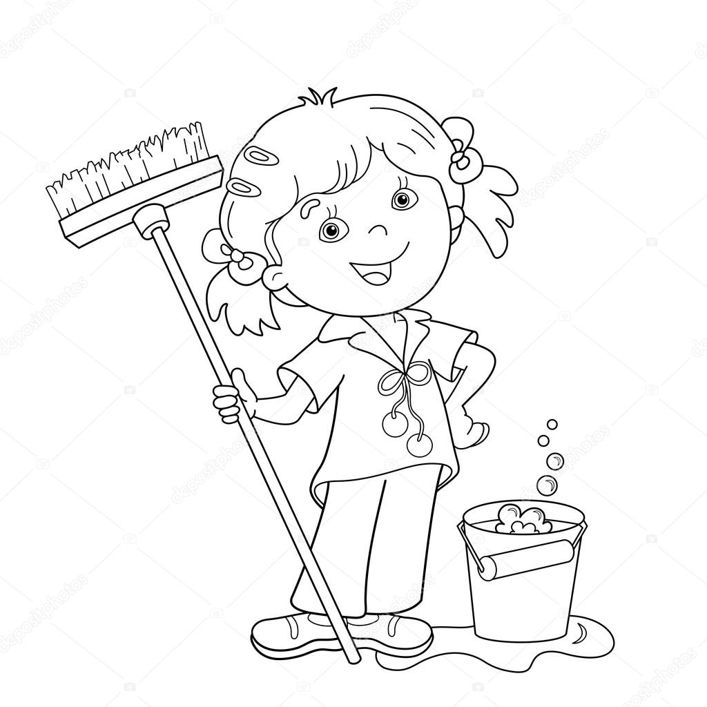 coloring page outline of cartoon girl with mop and bucket housework washing floors coloring book for kidsu2014 vector by oleon17