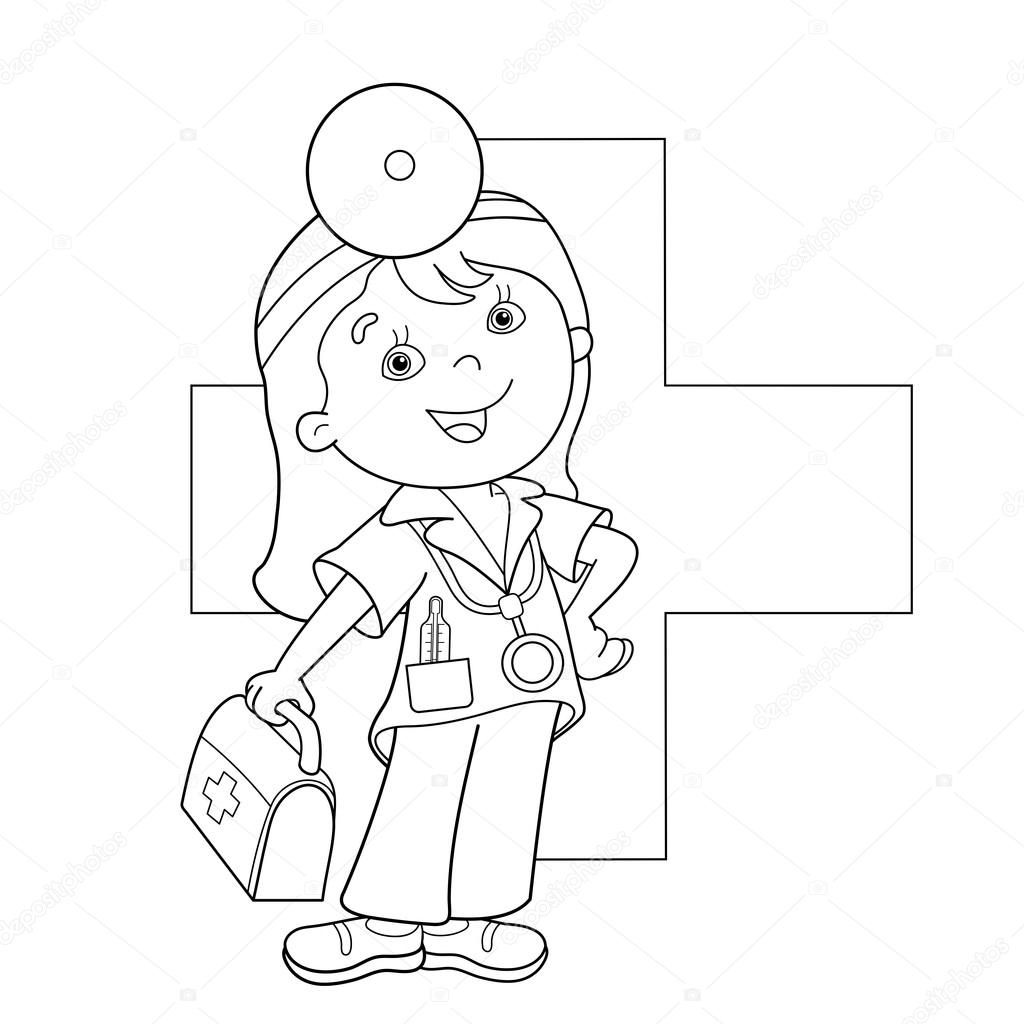 coloring page outline of doctor with aid kit