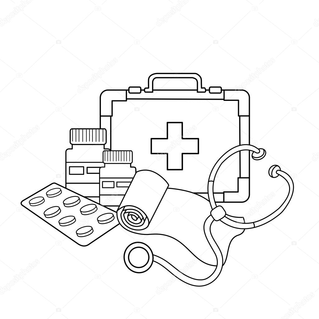 Coloring instruments - Coloring Page Outline Of Medical Instruments Medical Logo Stock Illustration