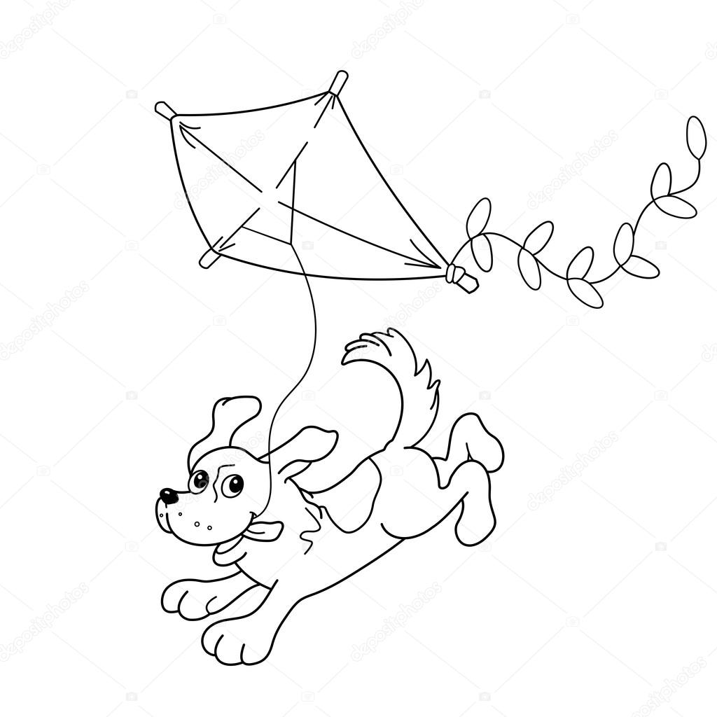 Preschool coloring pages kites - Coloring Page Outline Of Cartoon Dog With A Kite Coloring Book For Kids Stock Illustration