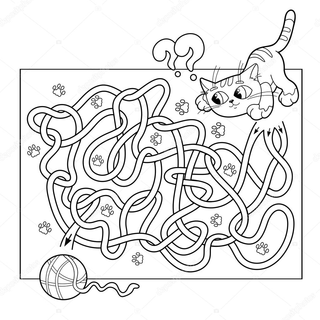 coloring page outline of cat with ball of yarn coloring book for kids stock illustration - Coloring Book Yarns