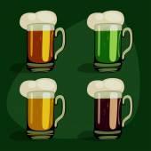 Cartoon beer green set — Stock Vector
