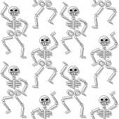 Repeating pattern with skeleton on white background — Stock Vector