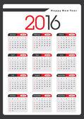 2016 Yearly Calendar — Stock Vector