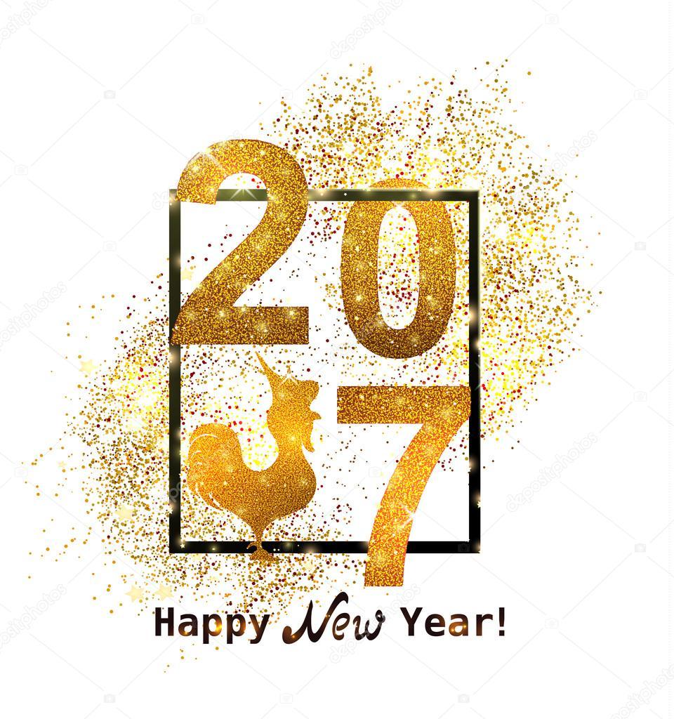 Les paillettes dor nouvel an 2017 dans un style moderne \u2013 Illustration