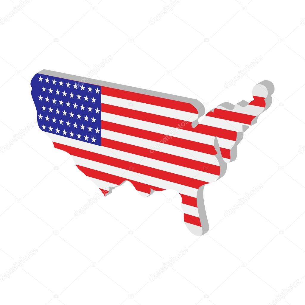 美国地图与美国国旗纹理白色背景上的卡通图标— vector by juliar