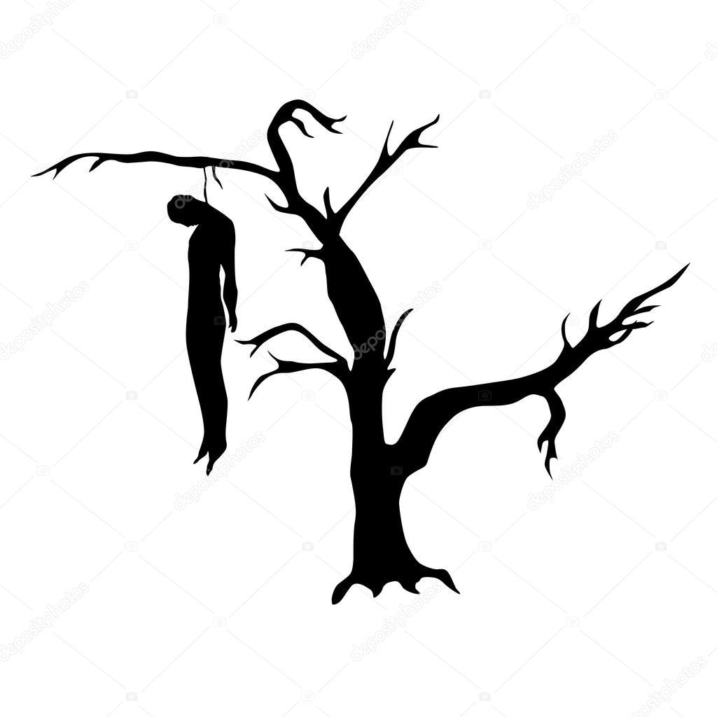 Mann aus einem toten Baum gehängt — Stockvektor #94146598
