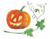 Halloween pumpkin with green leaves. — Stock Photo