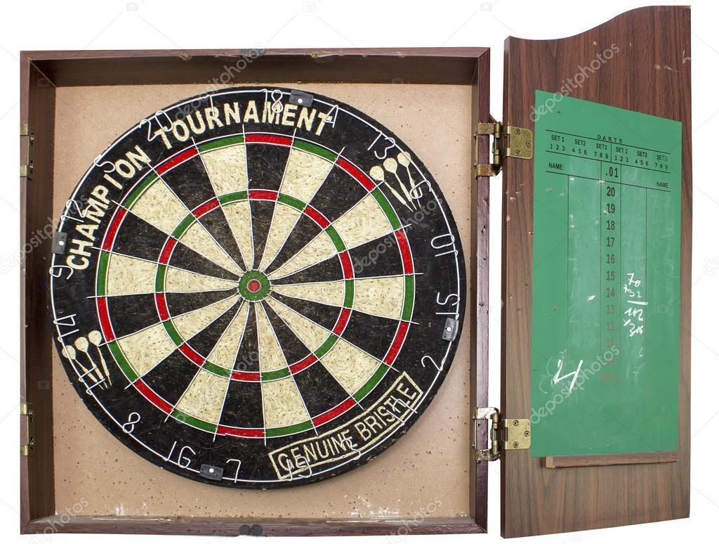 Dart Board Cabinet With Chalkboard A Professional Dart Board Enclosed In A Cabinet With Slate Chalk