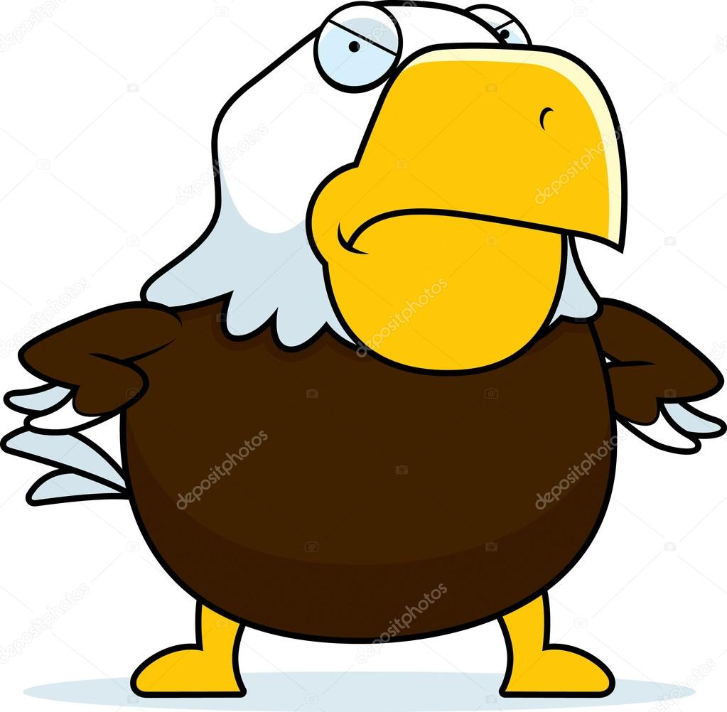 Aquila calva arrabbiata del fumetto — vettoriali stock
