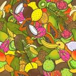 Постер, плакат: Pattern with tropical fruits