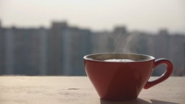 Cup Of Coffee On The Window Sill In The Morning — Stock Video