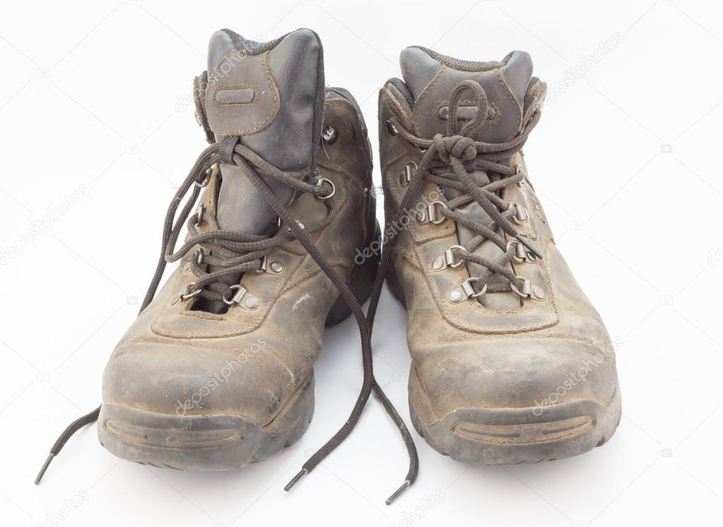 Dusty well used hiking boots — Stock Photo © ToscaW #109412098