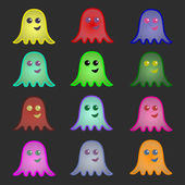 Set of multicolored ghosts — Stock Vector