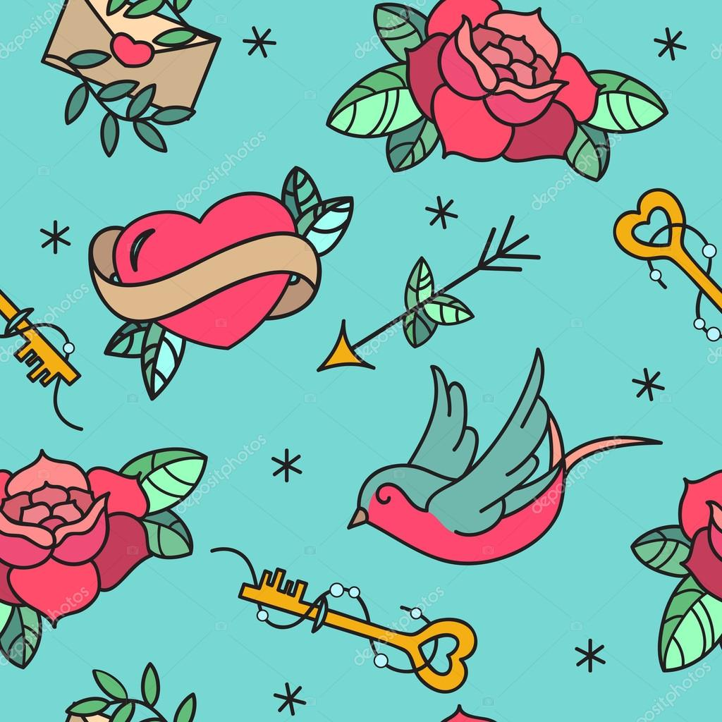 Old school tattoo vector seamless pattern with roses for Valentine s day tattoos