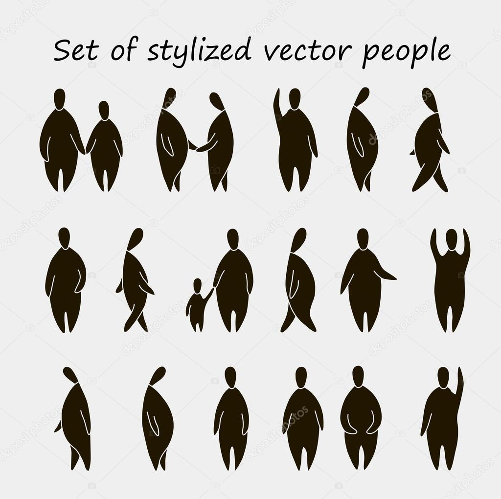 Hand drawn silhouette of people, for landscape and ...