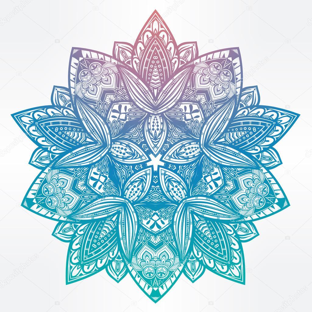 Paisley Floral Lotus Mandala Illustration Stock Vector