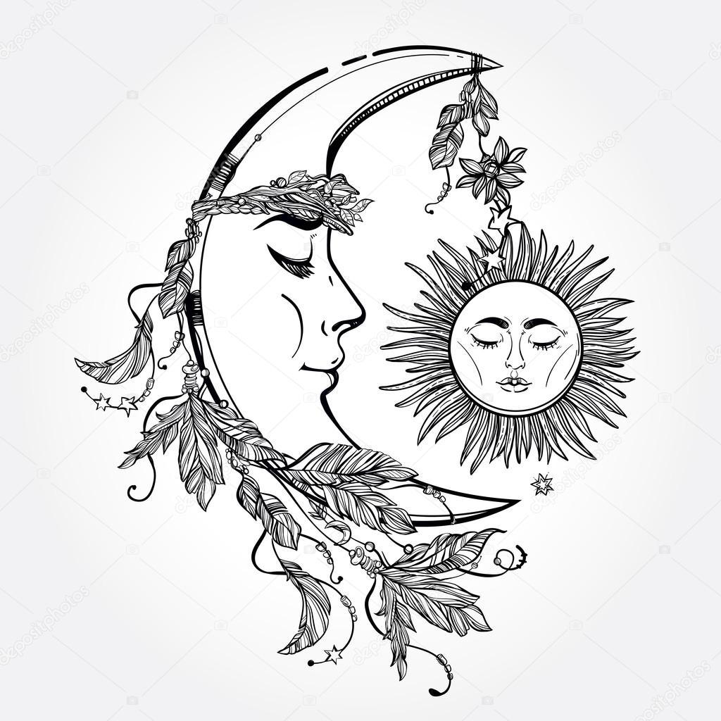 Line Drawing Sun Vector : Crescent moon and sleeping sun vector — 스톡 벡터 katja