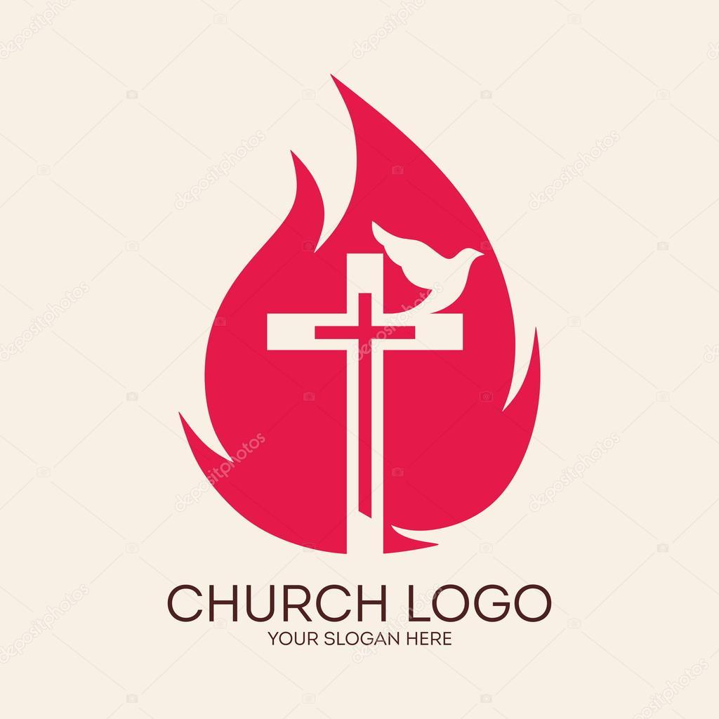 logotipo da igreja cruz chamas pomba pentecostes