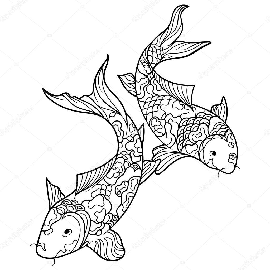 Pesci della carpa koi di coloritura per il vettore di - Pagine da colorare pesci per adulti ...