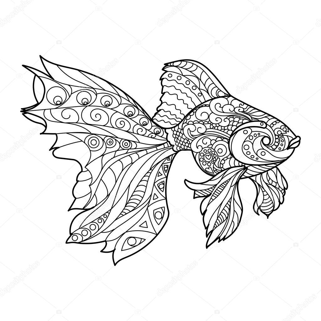 Золотая рыбка-раскраска для взрослых вектор — Векторное ...
