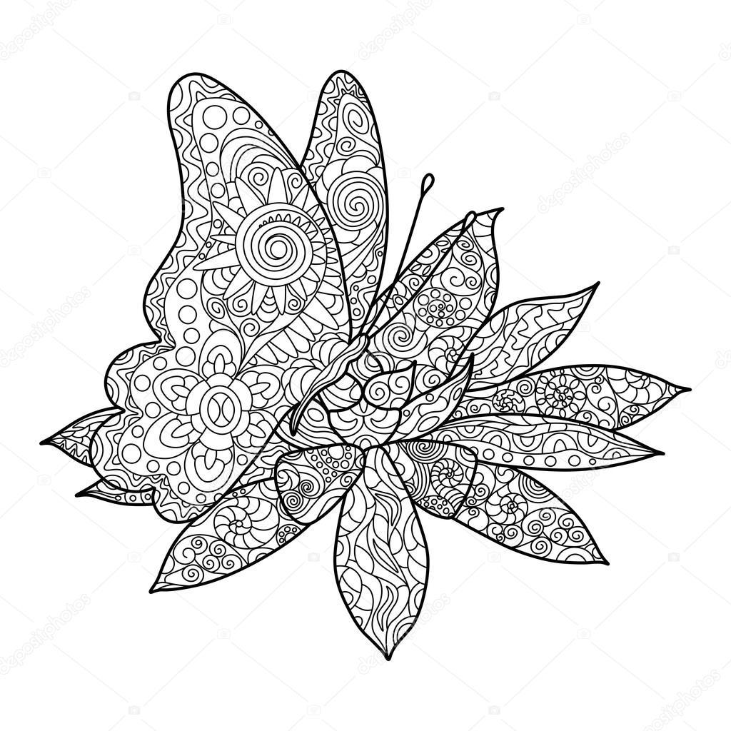 vlinder met bloem kleuren boek volwassenen vector