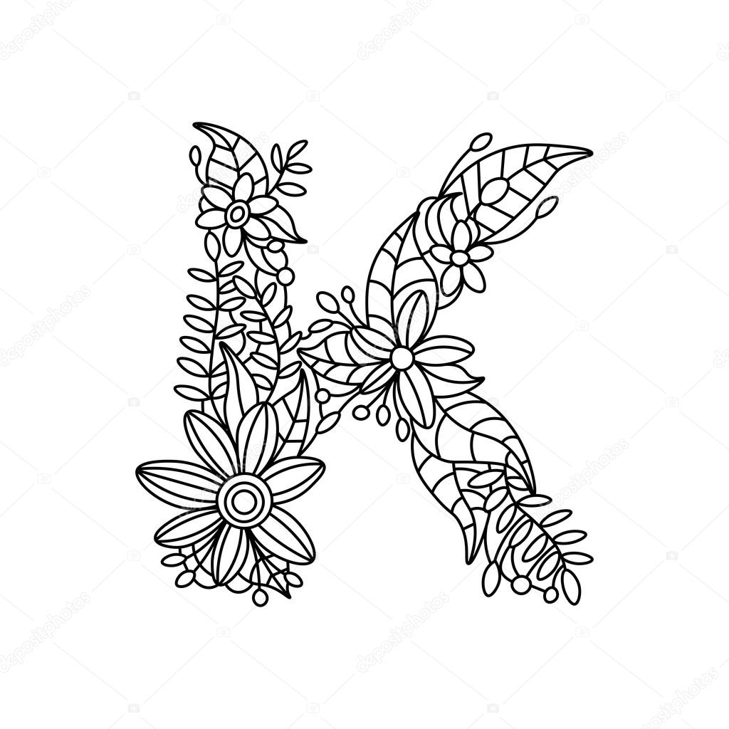 Alfabet Dieren also Doodle The Letter C 276984933 besides Ny Halsotrend Malarbocker For Vuxna as well Letter H Coloring Pages furthermore Bubble Letter Z Printable Coloring Pages Book 14061. on coloring letter k download adult