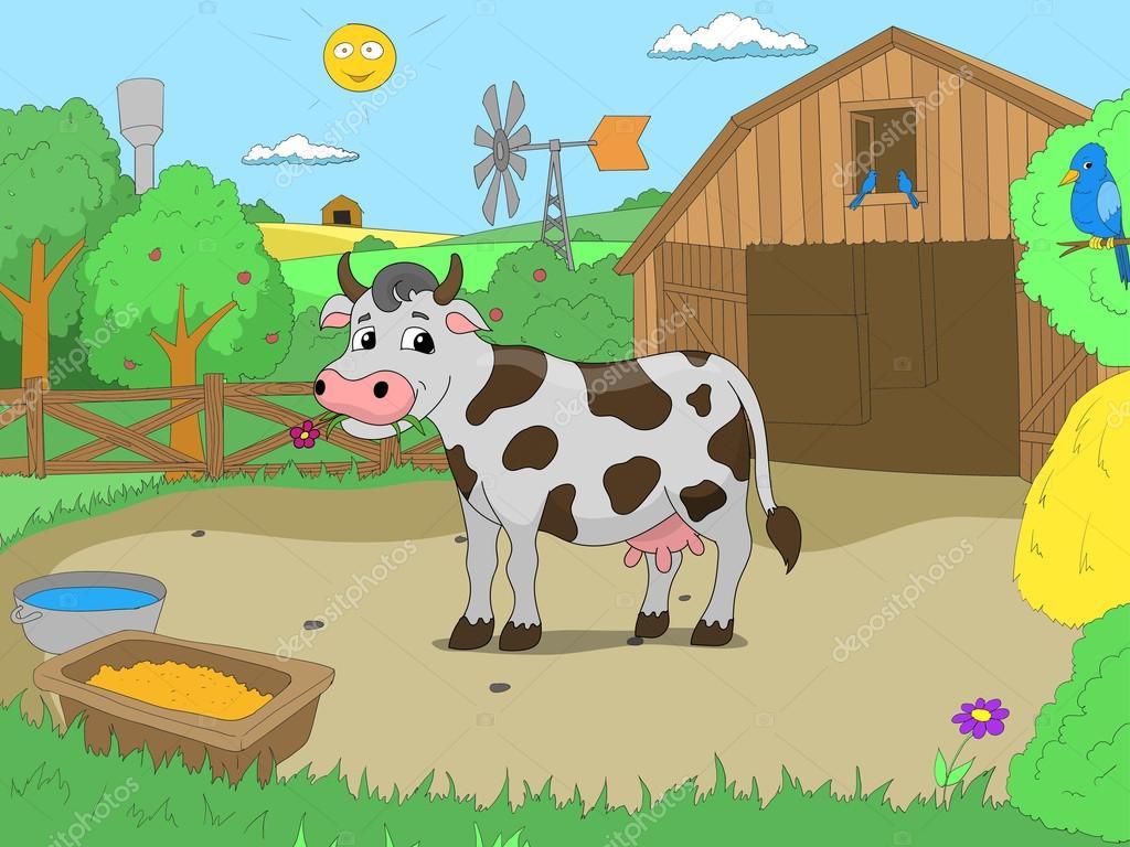 Dibujos De Granjas Infantiles A Color: Vaca De Dibujos Animados En Vectores De Niños Granja Color