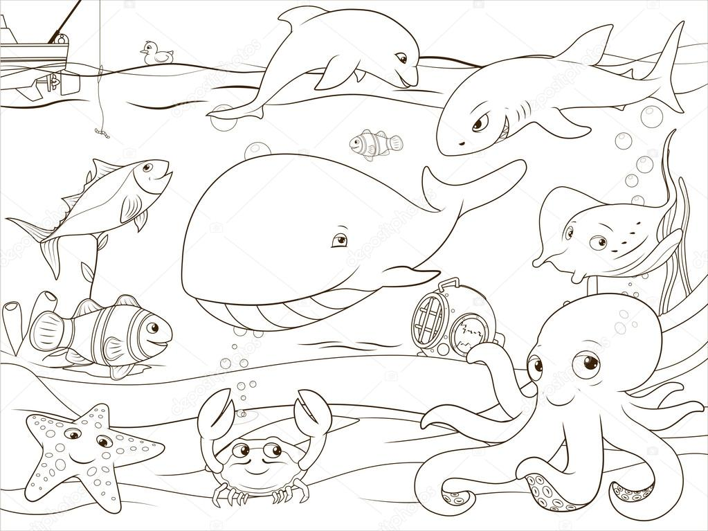 Realistic underwater coloring pages