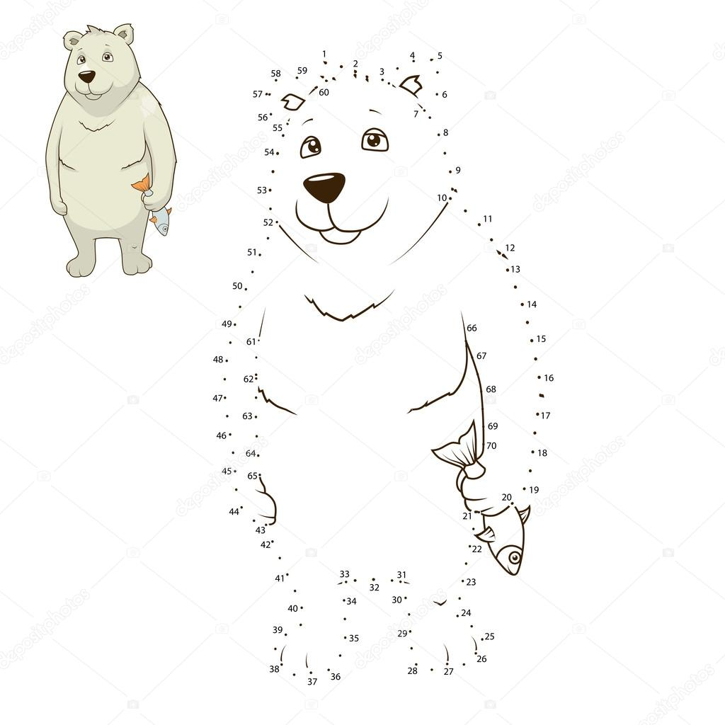 Apprendre dessiner animaux ours polaire vector image - Ours a dessiner ...