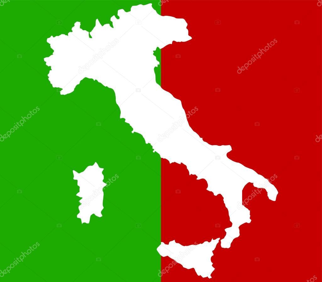 白色背景上意大利地图