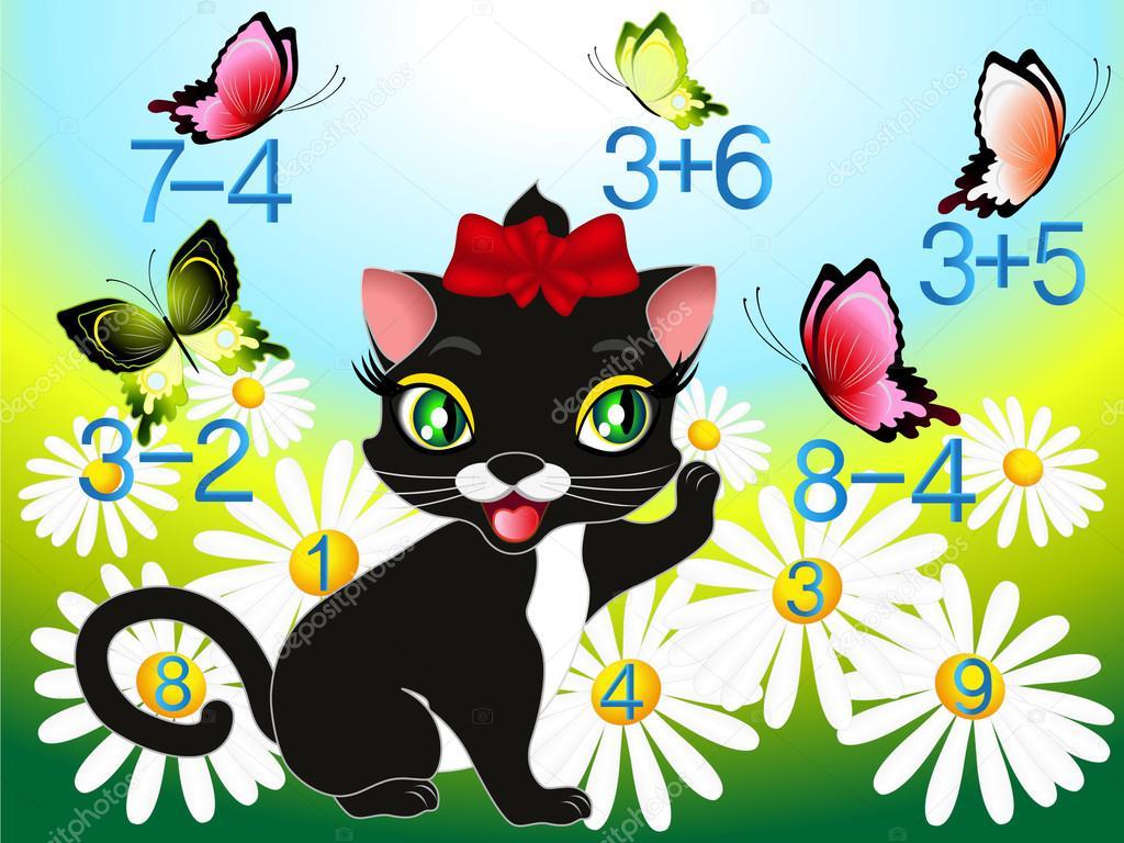 Ilustração Dos Desenhos Animados De Matemática-adição