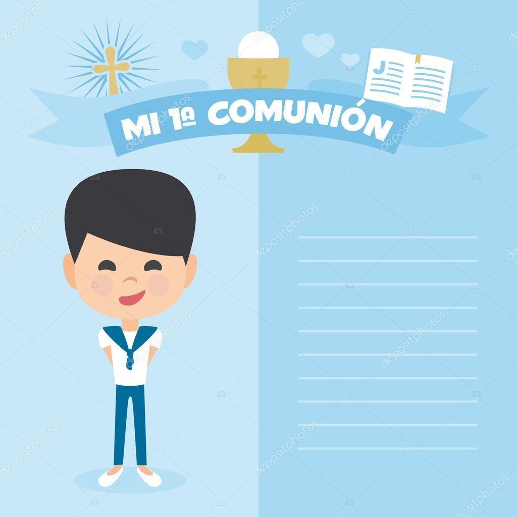 First communion invitation, template. A boy on a blue background ...