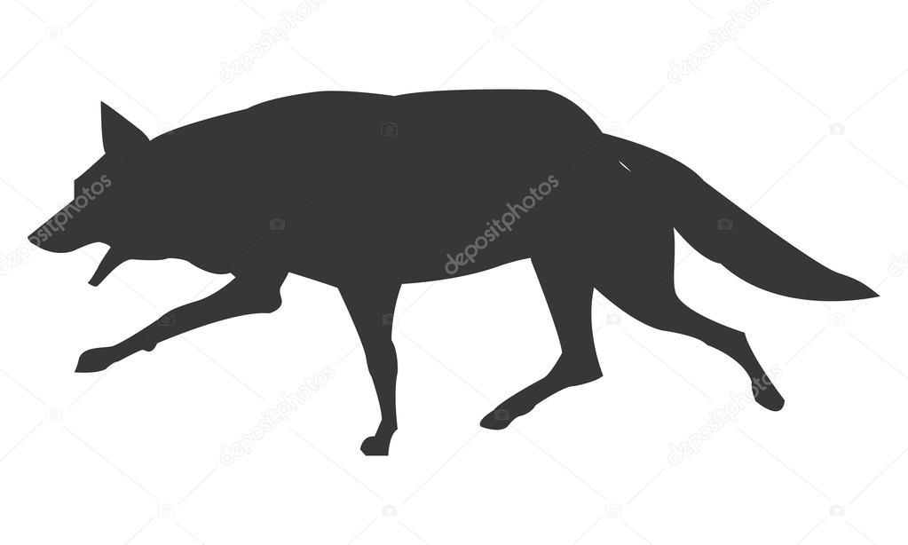 Silueta Lobo: Icono De Silueta Corriendo Lobo