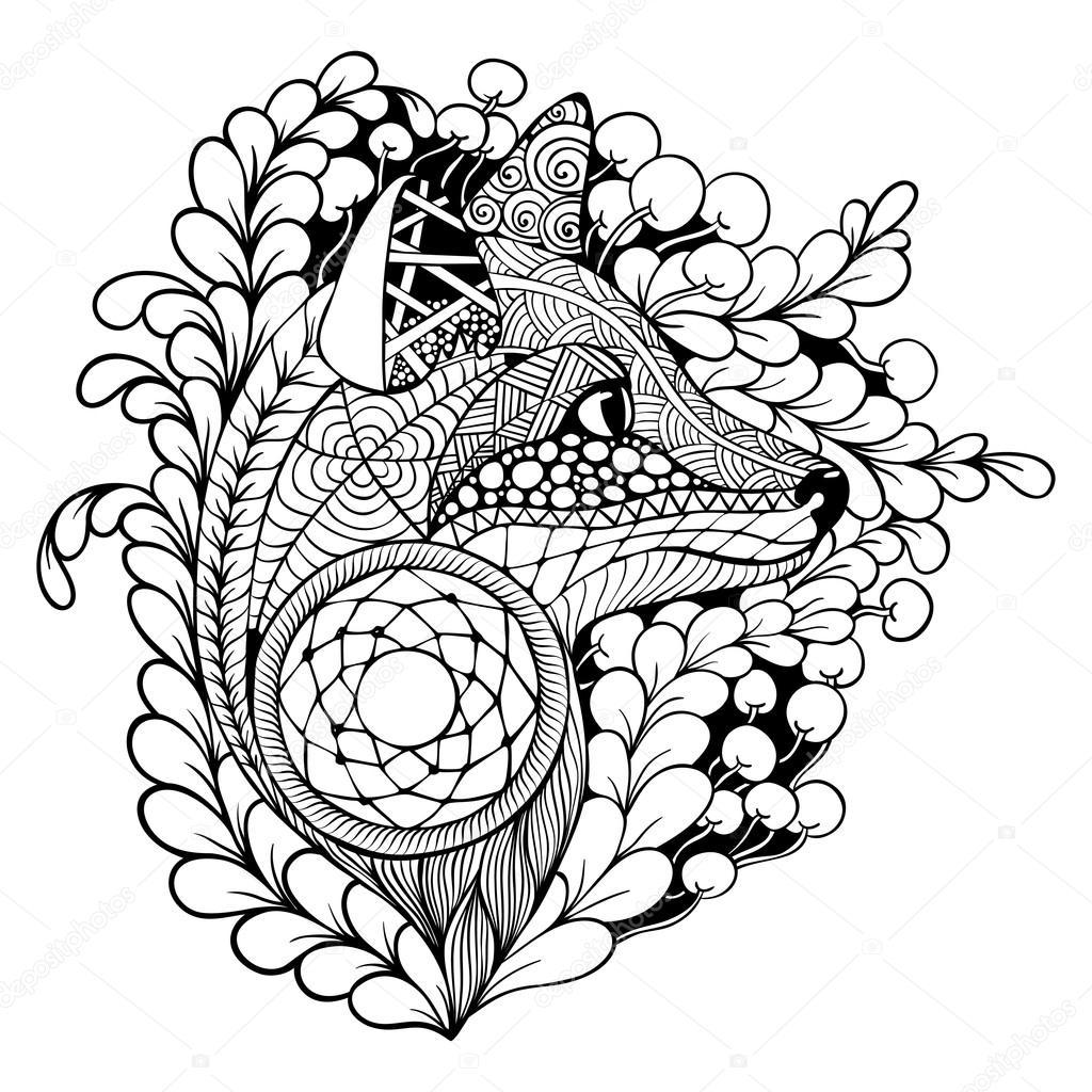 Volpe con dreamcatcher vettoriali stock arsenika 90148296 for Acchiappasogni disegno