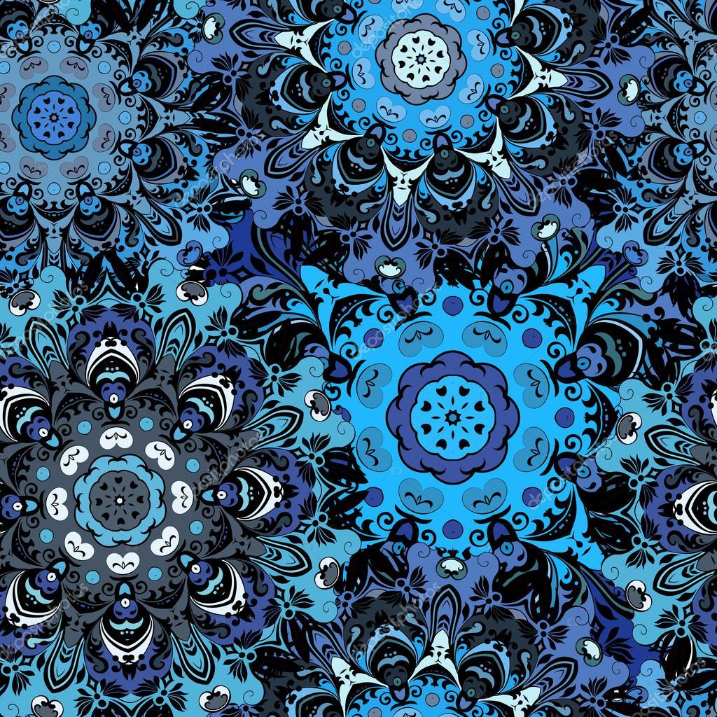 Tmavě modré barevné bezešvé vzor s východní květinové orament. Květinové  orientální design v aztécké 3d81c31dde
