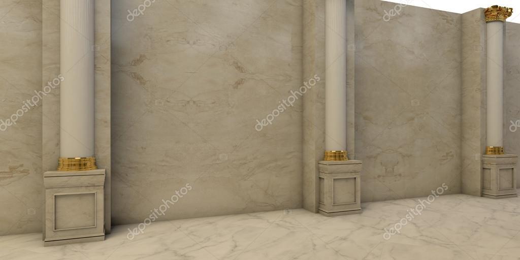 brillante vestbulo de mrmol con columnas y estatuasu foto de shumeikoin