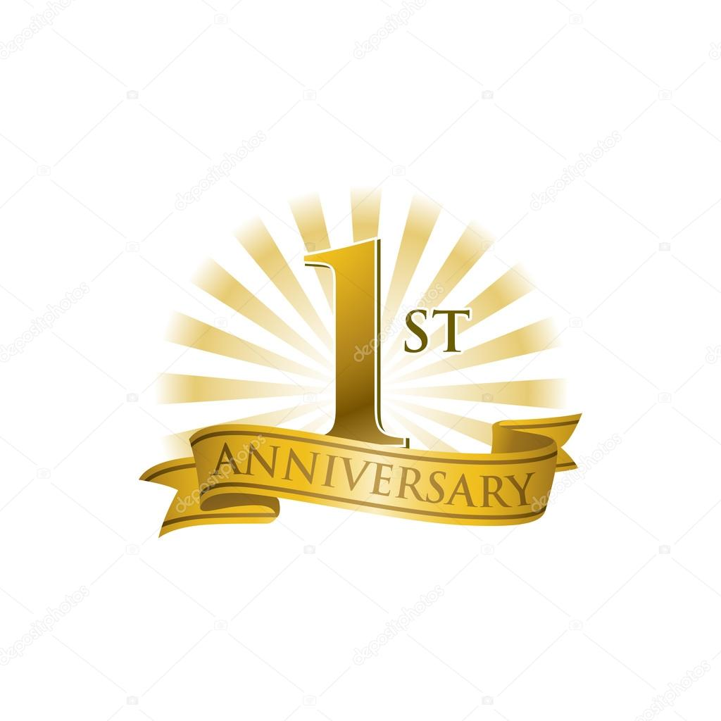 1st Anniversary Ribbon Logo With Golden Rays Of Light