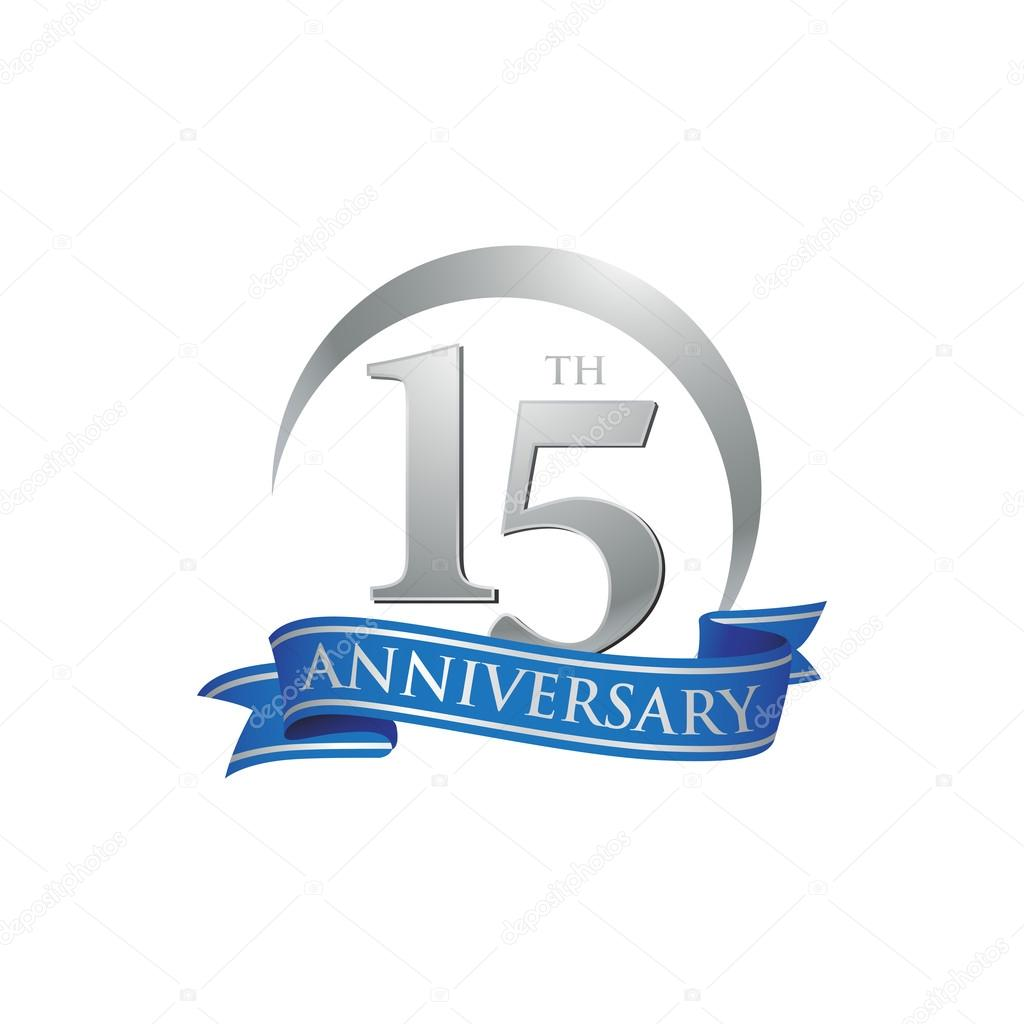 15th Anniversary Ring Logo Blue Ribbon Stock Vector