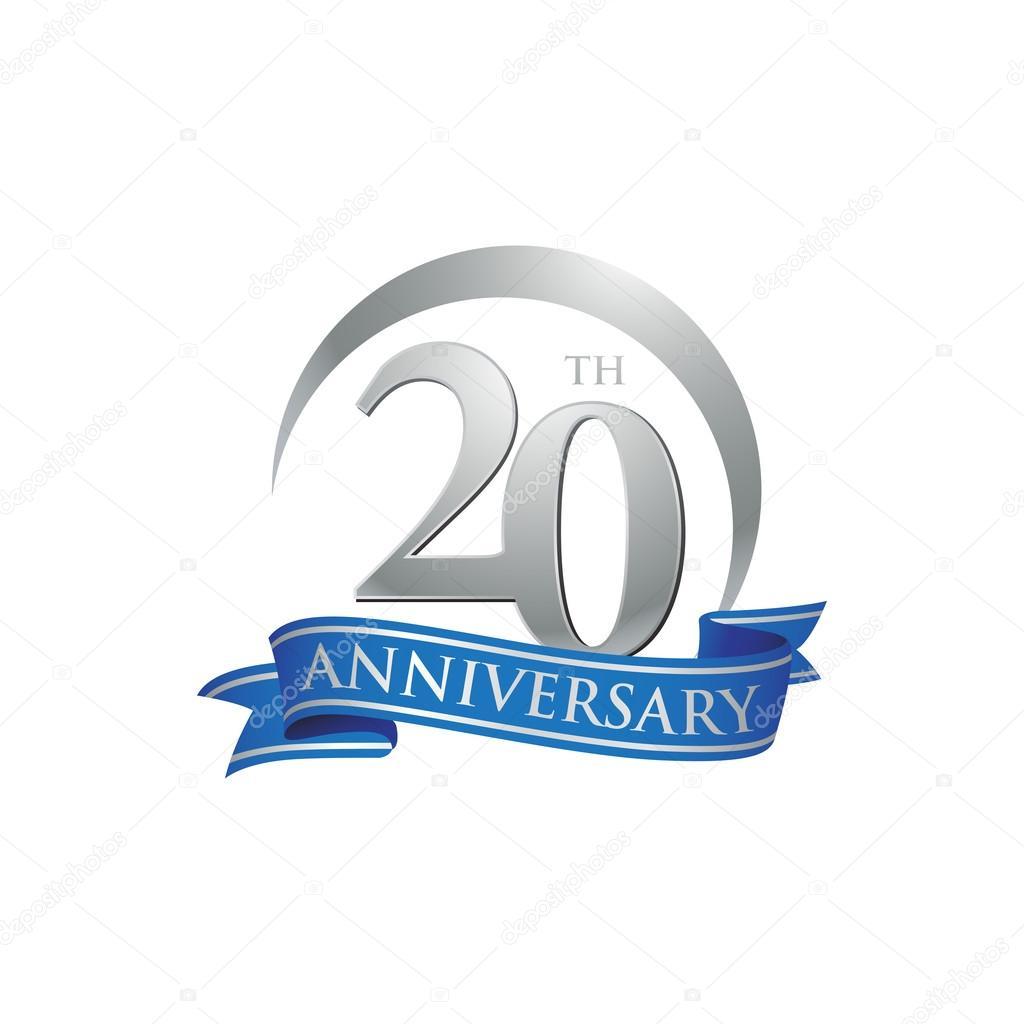20th anniversary ring logo blue ribbon stock vector Happy Anniversary Banner Clip Art Baseball Logos Clip Art