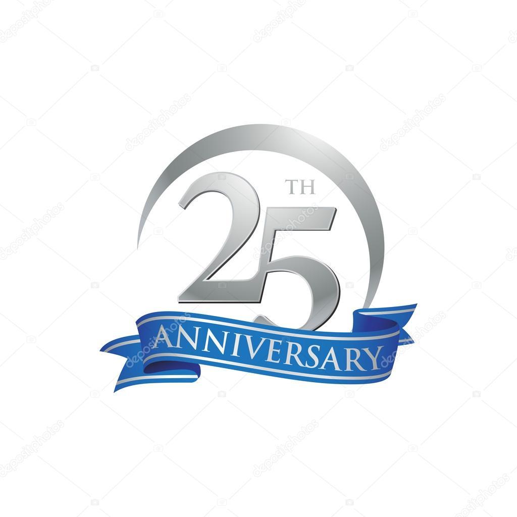 25th anniversary ring logo blue ribbon u2014 Stock Vector u00a9 ariefpro ...