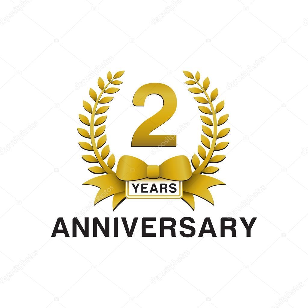 Nd anniversary golden wreath logo — stock vector