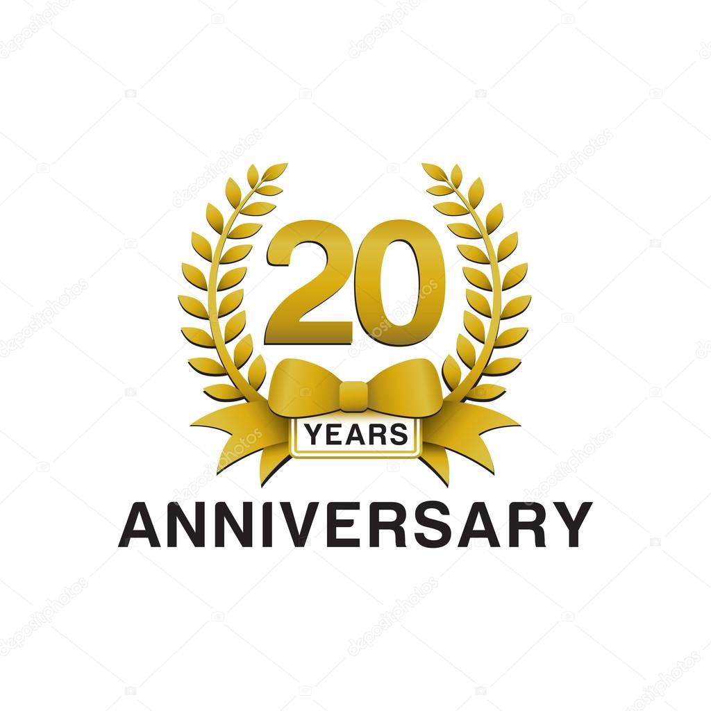20th Anniversary Golden Wreath Logo Stock Vector