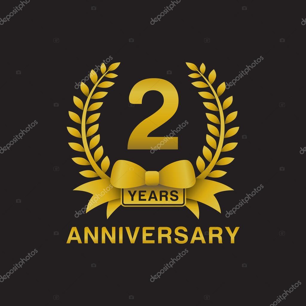 Nd anniversary golden wreath logo black background