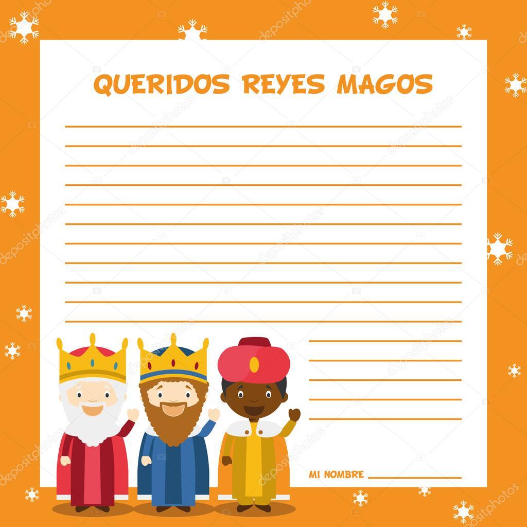 Télécharger - Trois rois mages lettre modèle — Illustration ...