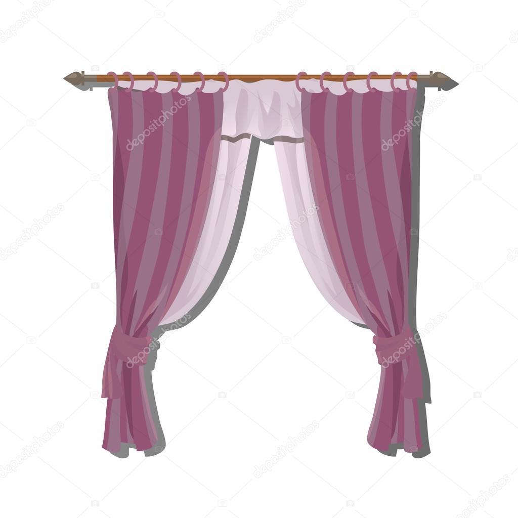 Rosa kök gardiner pÃ¥ kanten, inredning — stock vektor ...