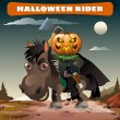 Постер, плакат: Ghost rider with axe in the midnight darkness