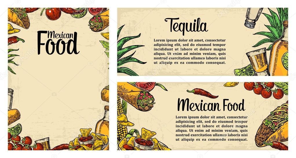 Fondo De Comida Mexicana: Plantilla De Menú De Restaurante De Comida Tradicional
